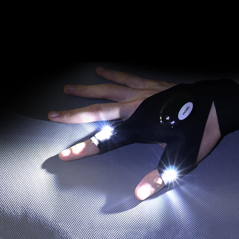 Перчатки для рыбалки на открытом воздухе, волшебный ремешок, без пальцев, светодиодный фонарь, чехол для выживания, кемпинга, пешего туризма, велоспорта, спасательные перчатки